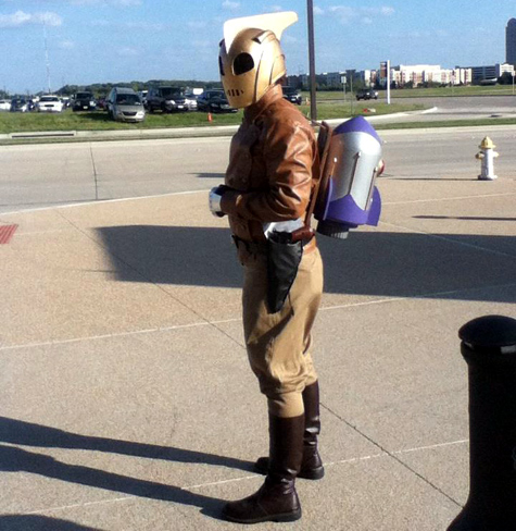 Curtis in his Dave Stevens Rocketeer costume. He did a great job on it all, but that rocket pack is tops!
