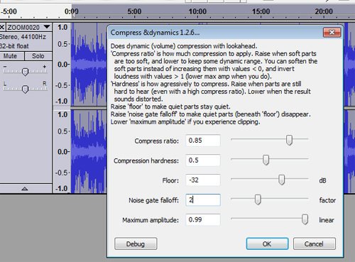 Compress Dynamics 1.2.6 in Audacity