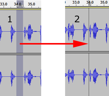 Deleting a gap in Audacity