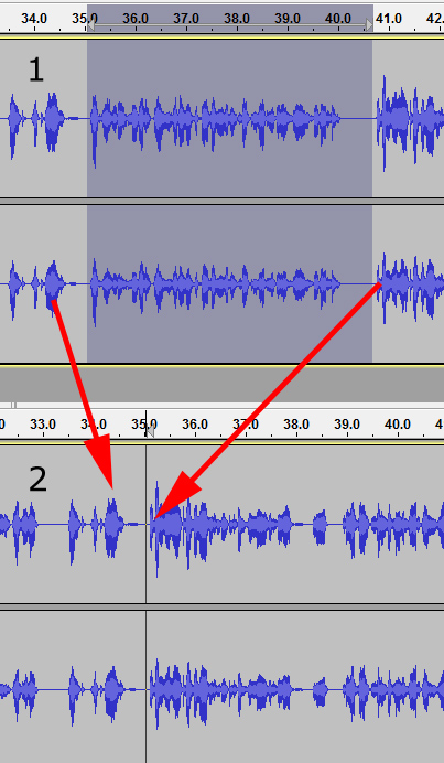 Deleting a recorded section in Audacity