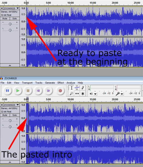 Pasted intro sound file in Audacity