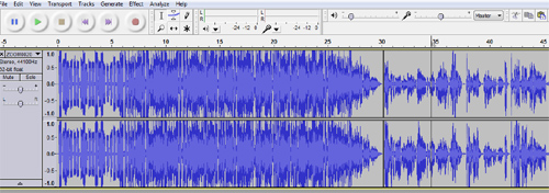A closer look at the pasting intro sound file in Audacity