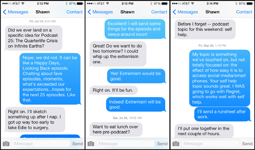 Text Messages Between Christopher and Shawn