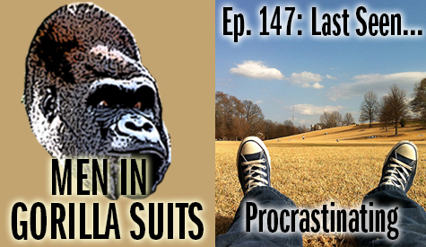 Lazt view of feet while lying down in a park - Men in Gorilla Suits Ep. 147: Last Seen…Procrastinating