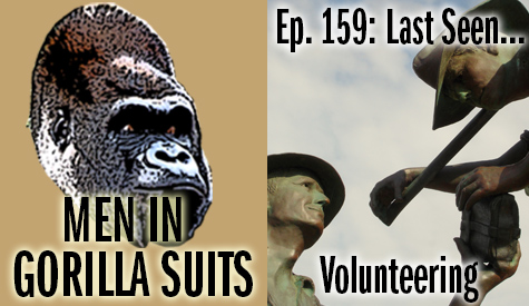 Statue of two people helping each other - Men in Gorilla Suits Ep. 159: Last Seen…Volunteering