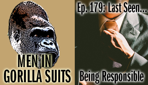Man tightening his tie - Men in Gorilla Suits Ep. 179: Last Seen…Being Responsible
