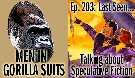 Man & Woman in Purple Spacesuits Pointing to Rocketships - Men in Gorilla Suits Ep. 203: Last Seen…Talking about Speculative Fiction